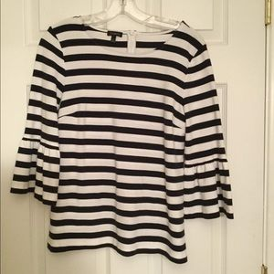 Talbots black & white striped bell sleeved top
